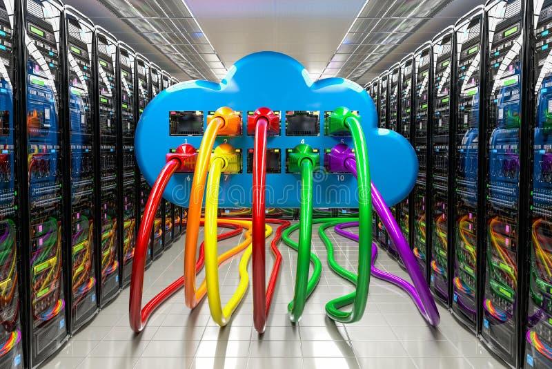与lan互联网缆绳的计算机云彩在数据中心,服务器室,3D里面翻译 库存例证