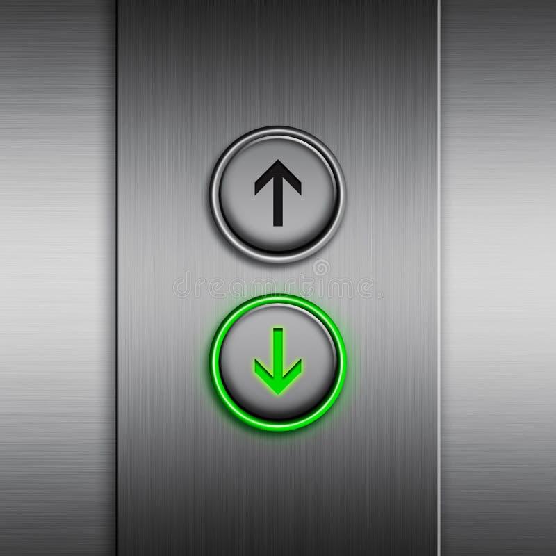与LED按钮的电梯盘区 向量例证