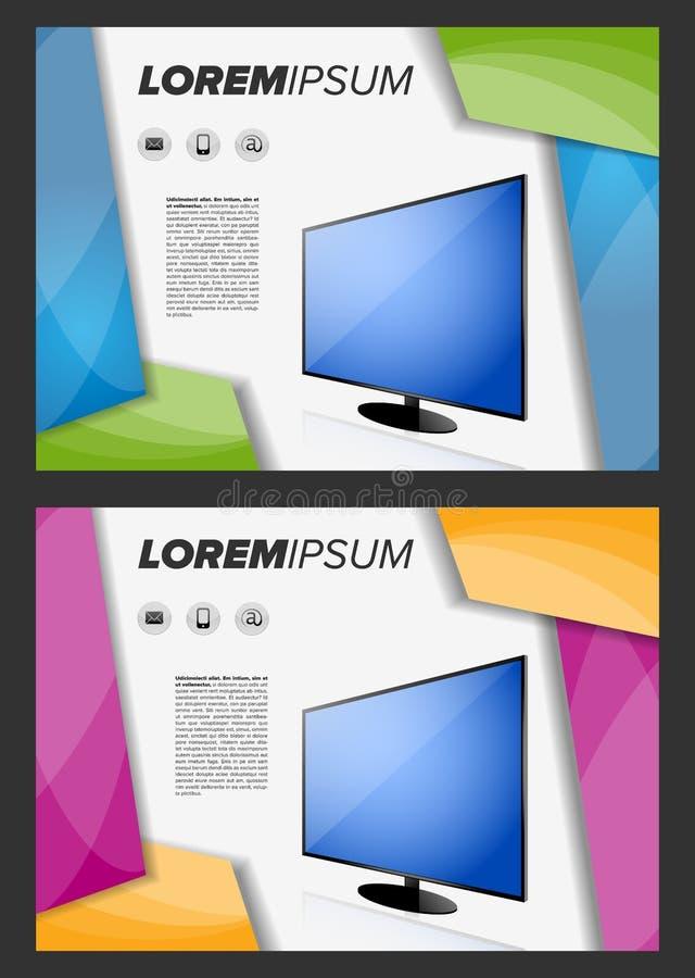 与LED电视的Flayer模板 皇族释放例证