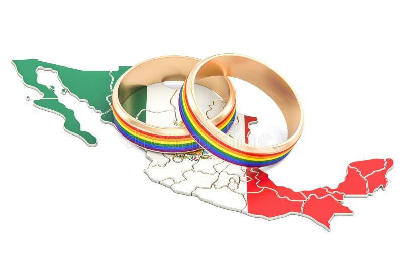 与LGBT彩虹的墨西哥地图敲响, 3D翻译 皇族释放例证
