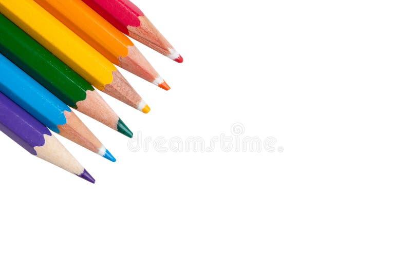 与LGBT颜色铅笔的背景 免版税图库摄影