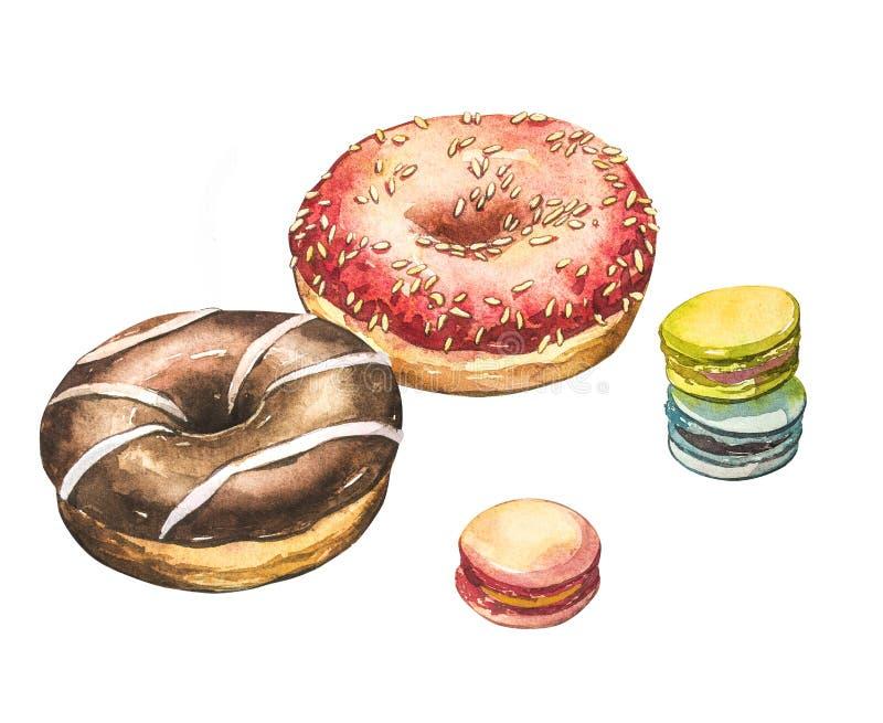 与macarons在白色背景隔绝的水彩例证的多福饼 免版税库存照片