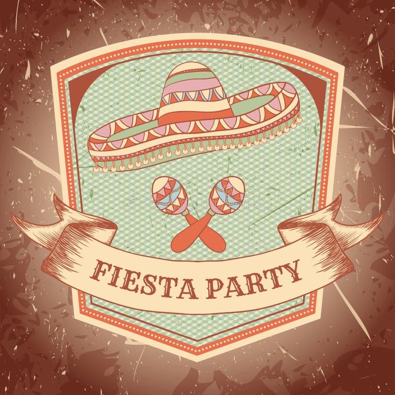 与maracas的墨西哥节日党标签,阔边帽 手拉的传染媒介例证海报有难看的东西背景 向量例证