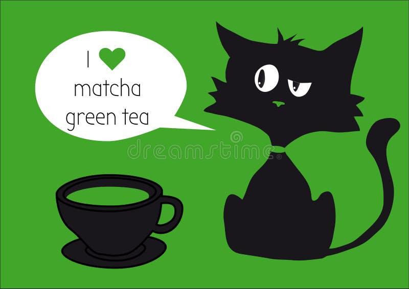 与matcha绿茶盖帽的恶意嘘声在与文本,在绿色背景的心脏的茶背景隔绝的 向量例证