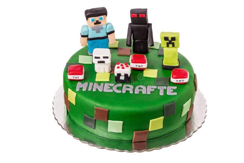 与Minekraft的蛋糕 库存图片