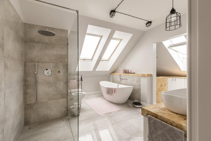 与minimalistic阵雨的现代卫生间内部 库存图片