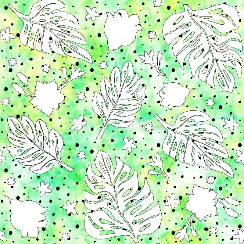 与monstera叶子和热带花的无缝的样式,画与墨水 向量例证
