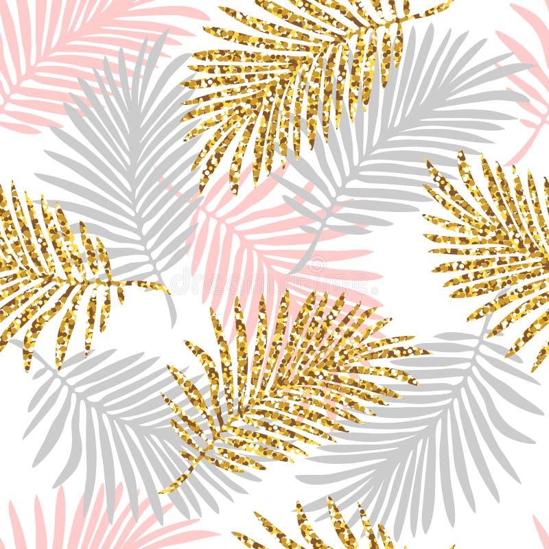 与monstera叶子和金黄闪烁纹理的热带无缝的样式 库存例证