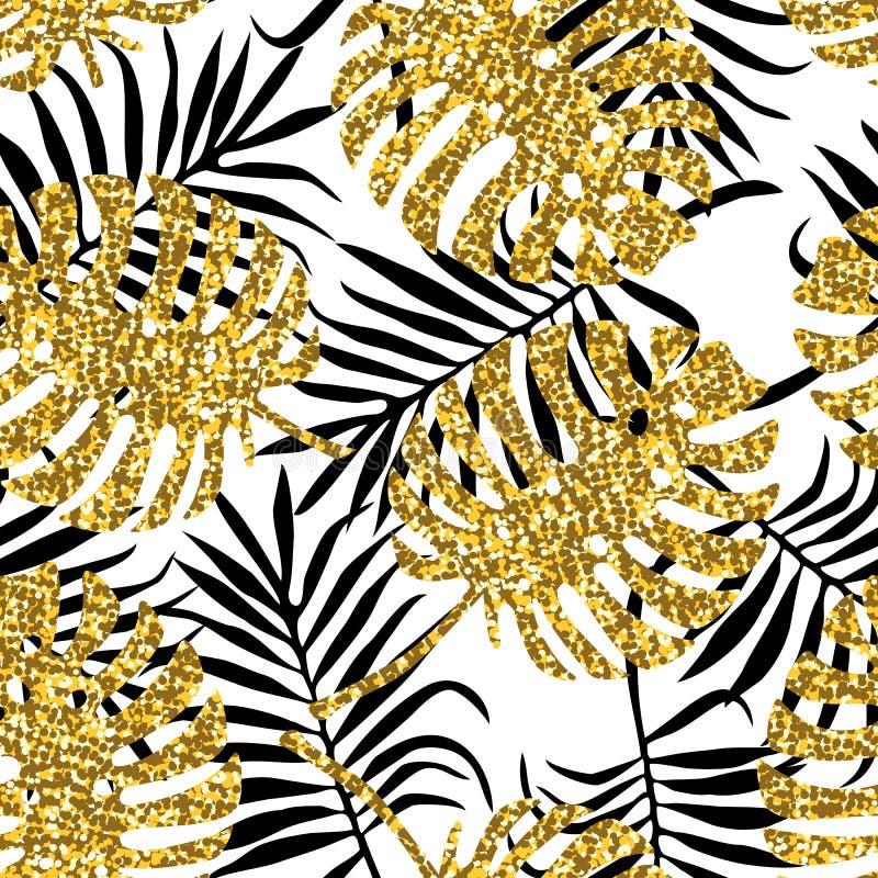 与monstera叶子和金黄闪烁纹理的热带无缝的样式 皇族释放例证