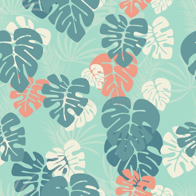 与monstera棕榈叶和植物的无缝的样式蓝色背景的 向量例证