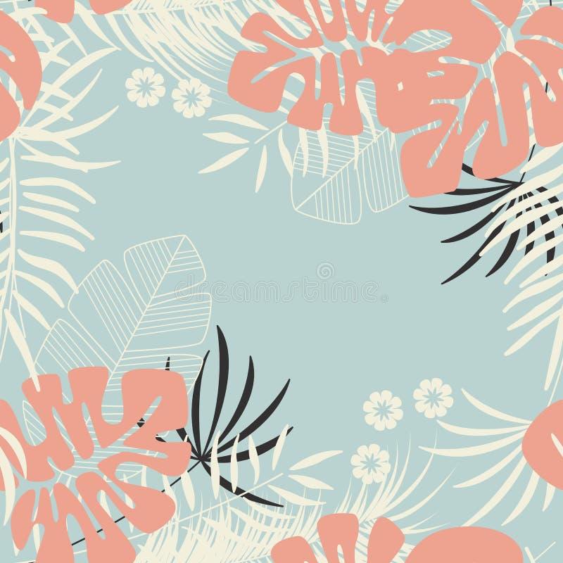 与monstera棕榈叶的夏天无缝的热带样式 皇族释放例证