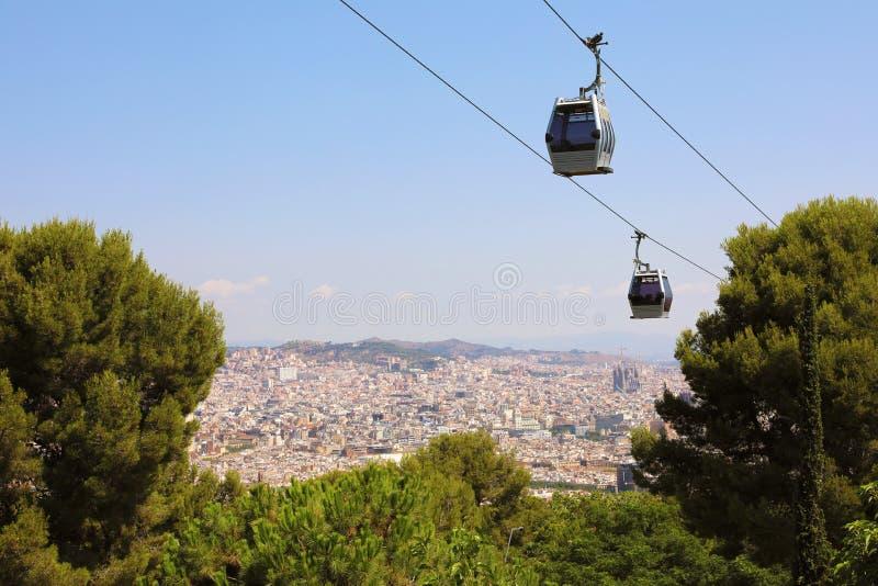 与Montjuic缆车Teleferic de Montjuic,巴塞罗那,卡塔龙尼亚,西班牙的巴塞罗那市鸟瞰图 免版税库存图片