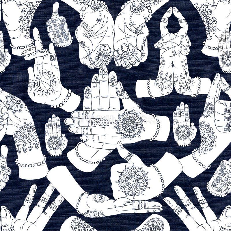 与mudras的手拉的收藏在织地不很细背景的两只手上 向量例证
