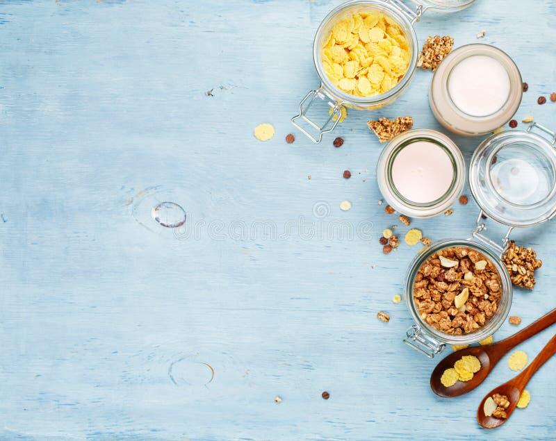 与muesli和玉米片的酸奶 免版税库存图片
