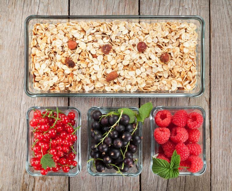 与muesli和莓果的健康早餐 免版税库存图片