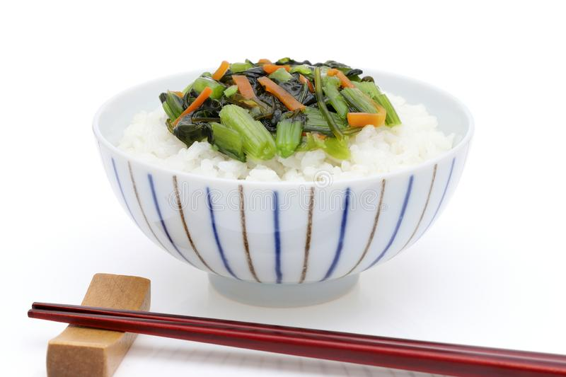 与nozawana的日本煮熟的米 免版税图库摄影