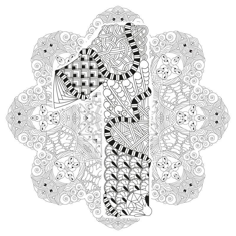 与numero一的坛场上色的 传染媒介装饰zentangle 库存例证