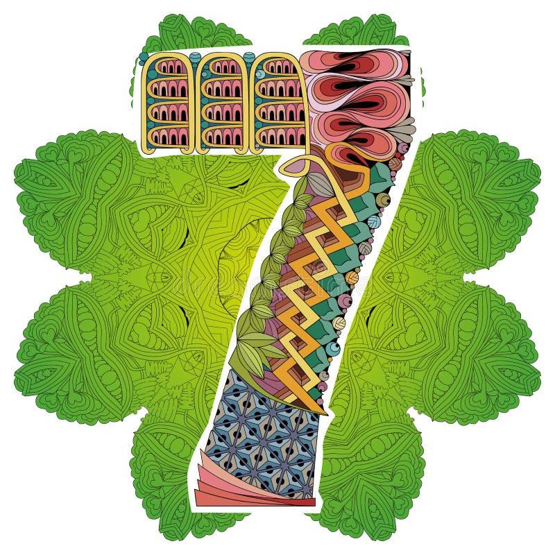 与numero七的坛场 传染媒介装饰zentangle 皇族释放例证