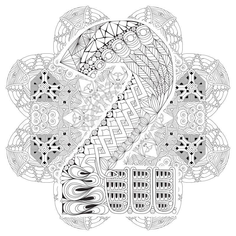 与numero两的坛场上色的 传染媒介装饰zentangle 库存例证