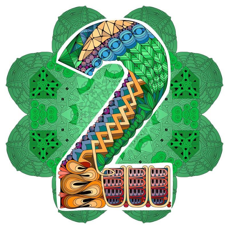 与numero两的坛场 传染媒介装饰zentangle 皇族释放例证