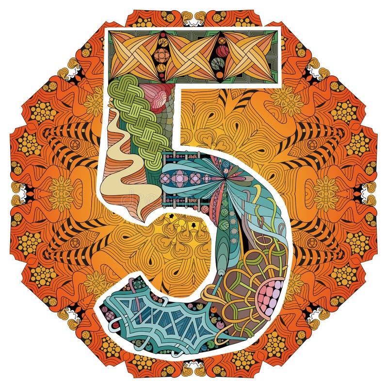 与numero五的坛场 传染媒介装饰zentangle 向量例证