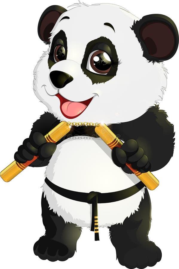 与nunchaku的熊猫 向量例证