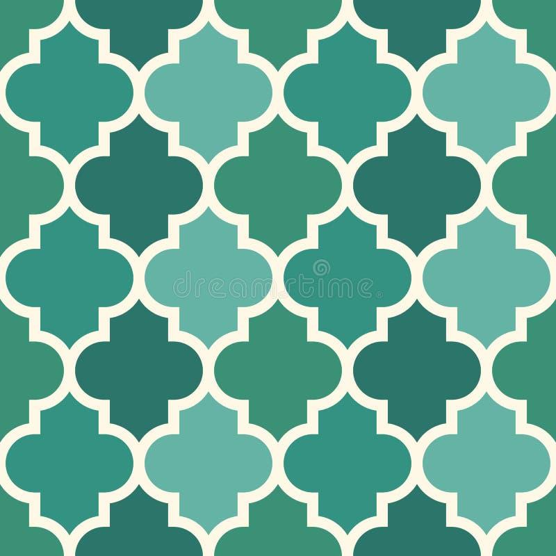 与ogee装饰品的无缝的表面印刷品 与重复的锦砖摩洛哥人的东方传统样式横渡主题 向量例证