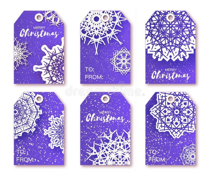 与origami白色雪花的蓝色圣诞节标签 向量例证