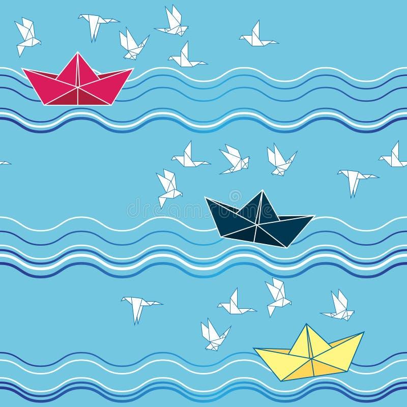 与origami纸小船和海鸥的无缝的样式 织品,婴孩衣裳,背景,纺织品图片