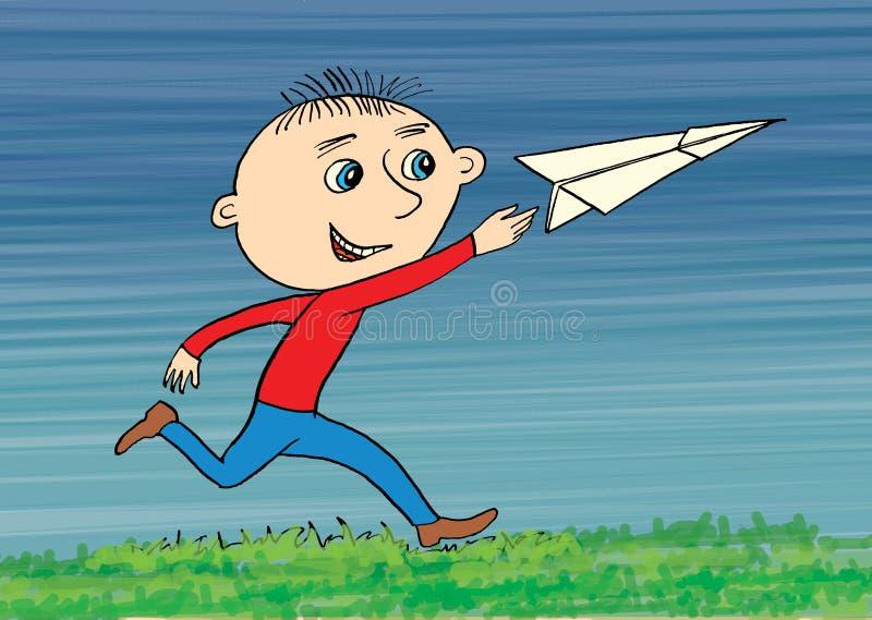 与origami纸平原的男孩戏剧本质上 动画片 库存例证