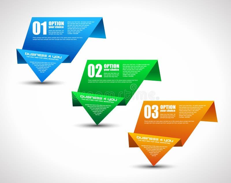 与origami纸张样式的选项标签 向量例证