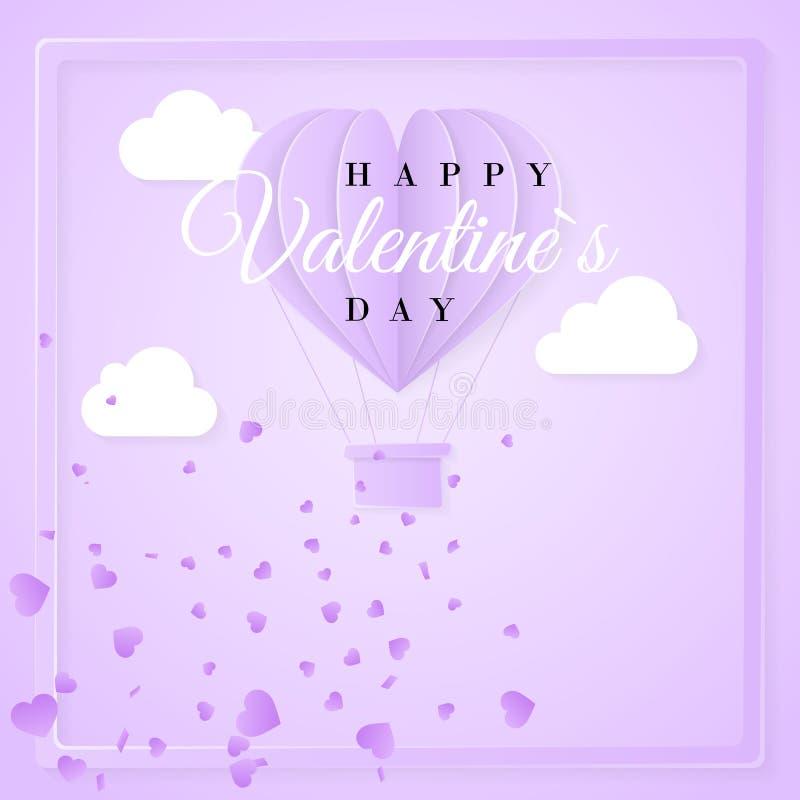 与origami纸热空气气球的愉快的情人节减速火箭的邀请卡片模板在心脏形状 紫色背景 向量 向量例证