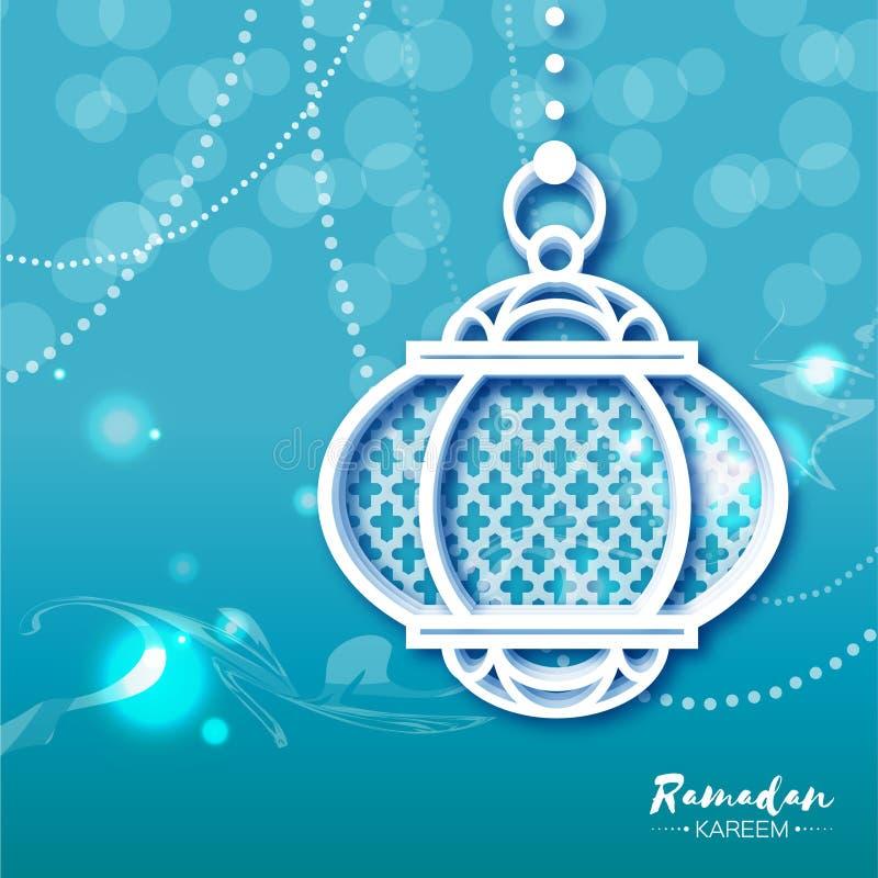 与origami阿拉伯灯的蓝色白色赖买丹月Kareem庆祝贺卡 库存例证