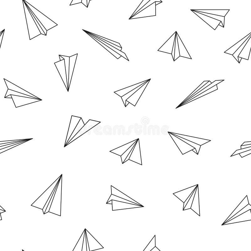 与origami飞机的传染媒介无缝的样式 创造性抽象的背景 库存例证
