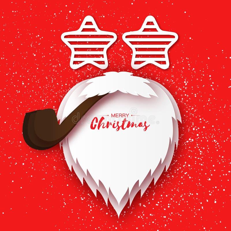 与papercraft圣诞老人胡子和管子的圣诞快乐卡片 皇族释放例证