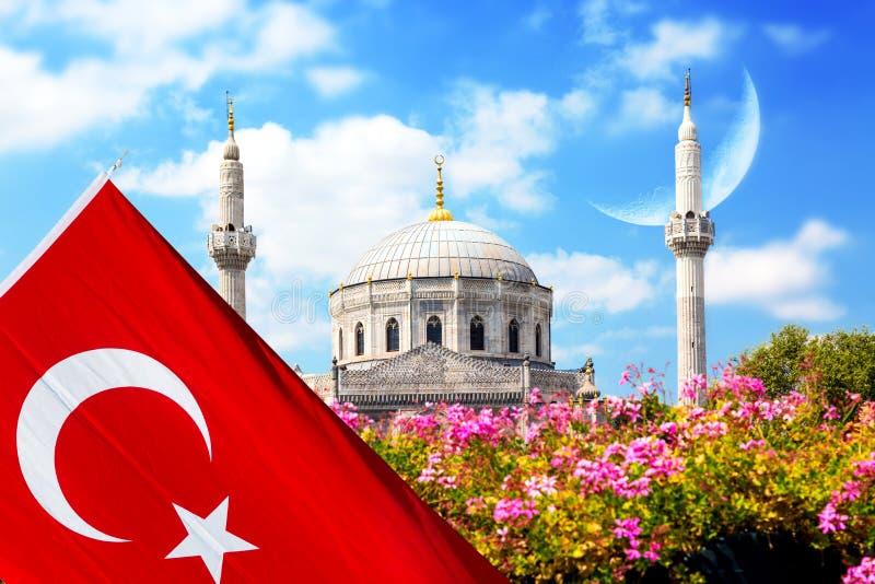 与Pertevniyal Valide苏丹清真寺,一个奥托曼皇家清真寺的桃红色花在伊斯坦布尔,有土耳其旗子的土耳其和 免版税图库摄影