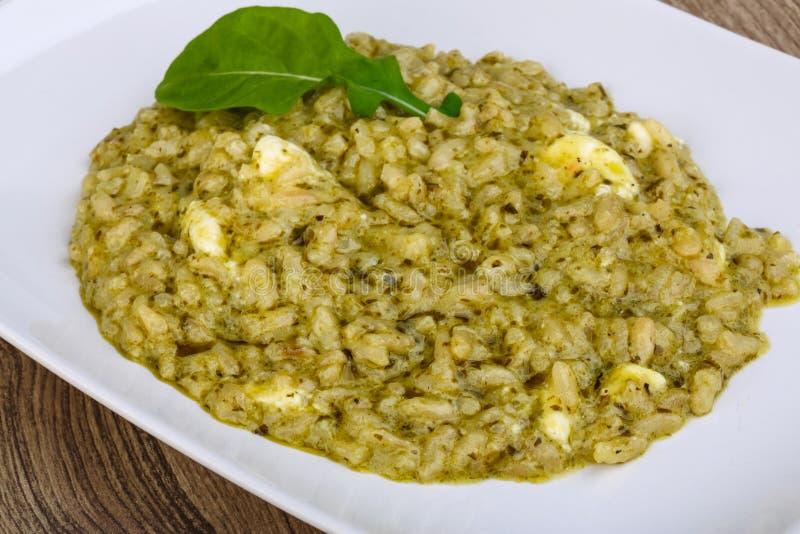 与pesto的意大利煨饭 库存图片