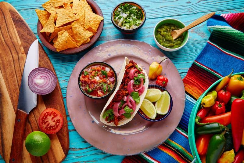 与pico de加洛的Cochinita Pibil墨西哥食物 免版税库存图片