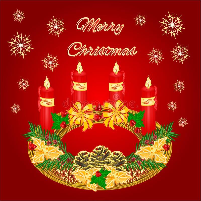 与pinecones传染媒介的圣诞快乐圆出现花圈 皇族释放例证