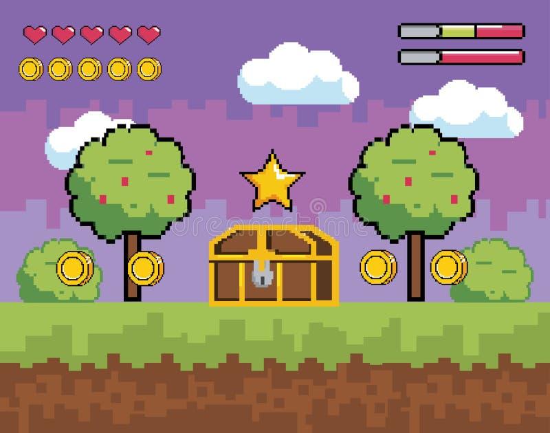 与pixelated树和箱柜的计算机游戏场面与硬币 皇族释放例证