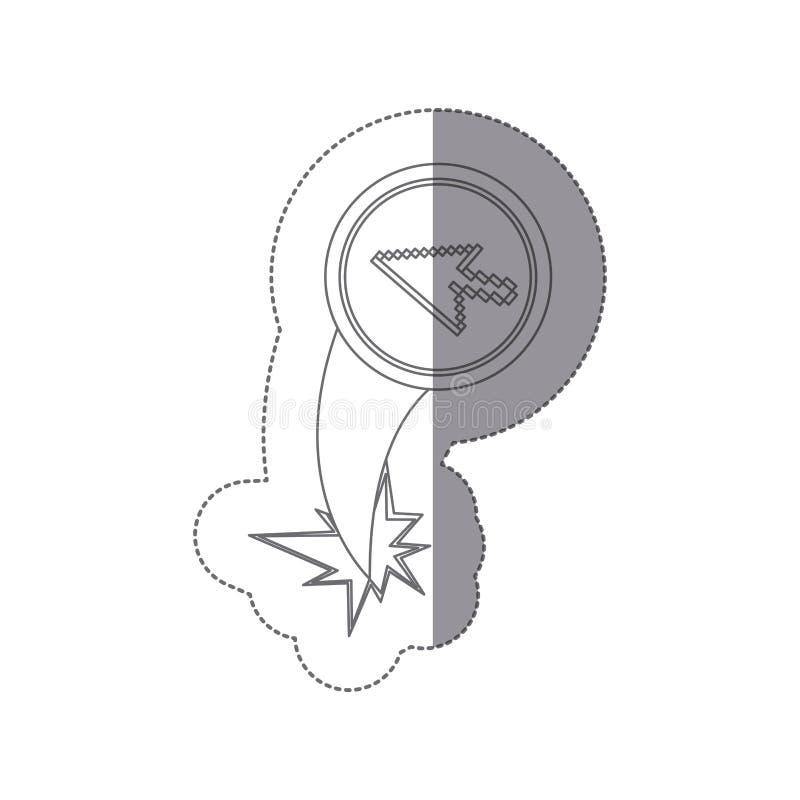 与pixelated游标箭头排斥飞行的贴纸剪影圆框架 库存例证