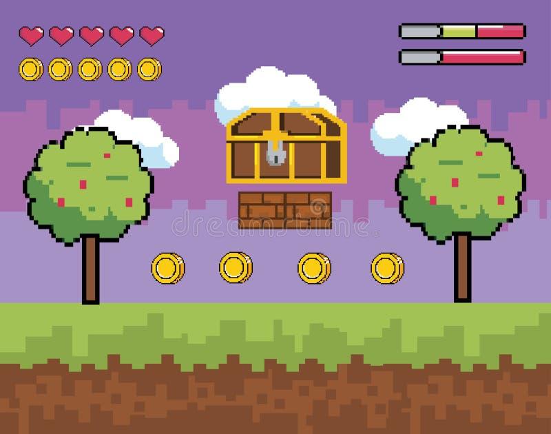 与pixelated箱柜的计算机游戏场面与树和硬币 皇族释放例证