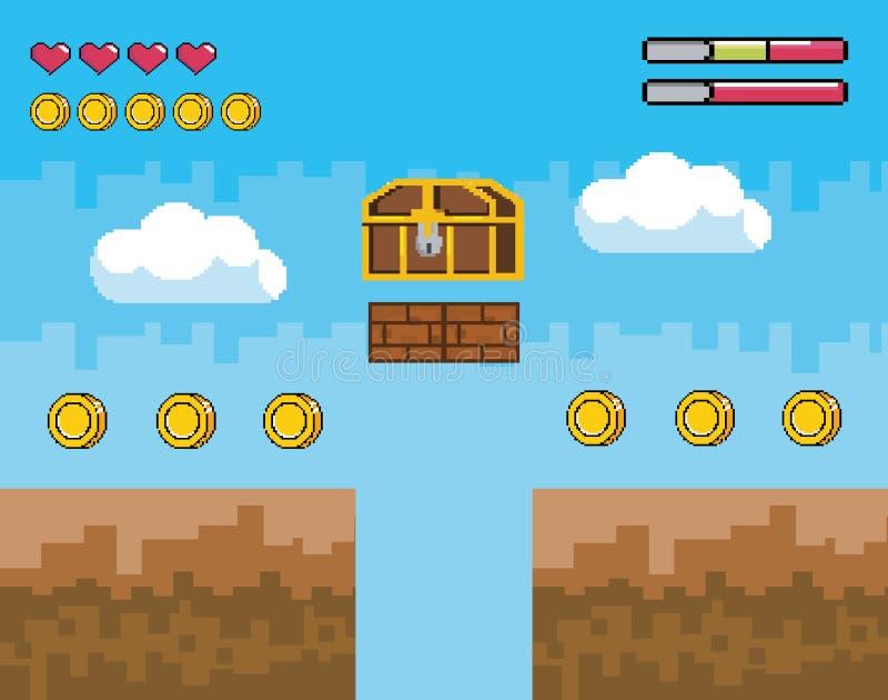与pixelated箱柜的计算机游戏场面与硬币和生活酒吧 向量例证