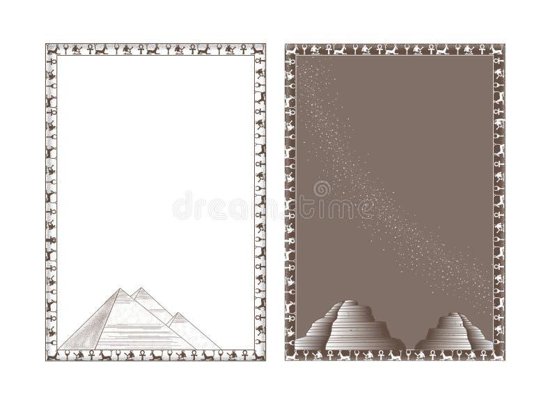 与pyramides的以埃及主题的框架 向量例证