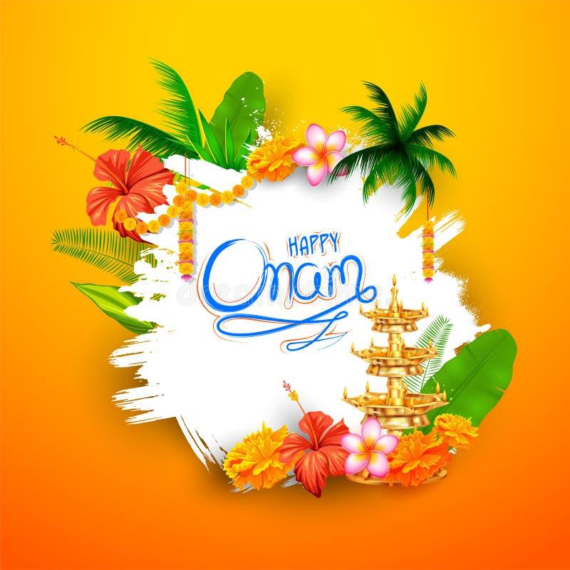 与rangoli和灯的愉快的Onam背景 库存例证