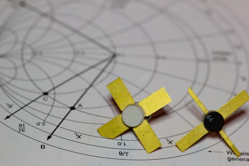与RF晶体管的图 免版税库存照片
