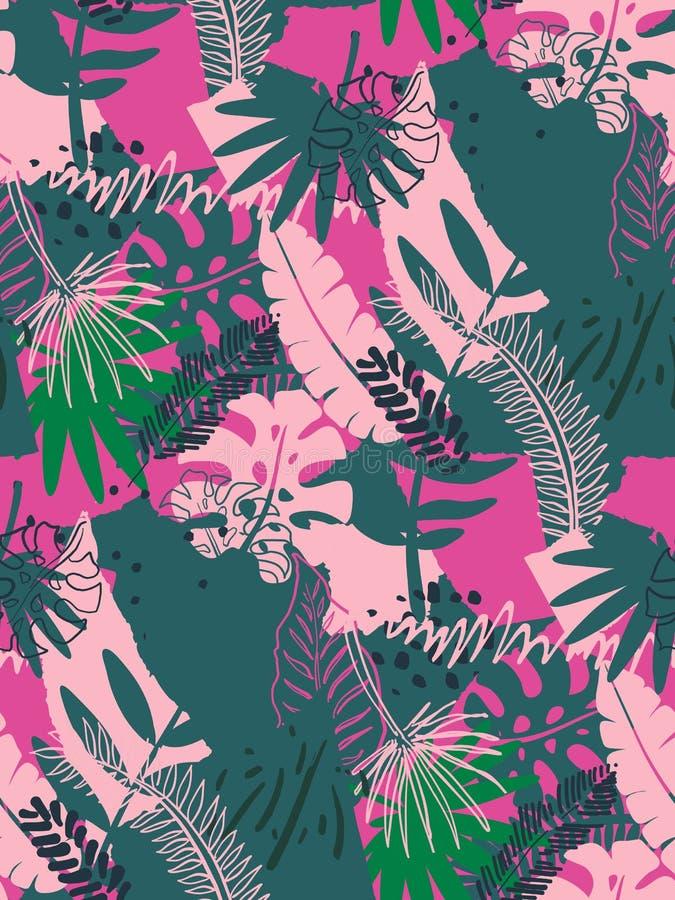 与ropical密林棕榈叶和抽象纹理的美好的无缝的样式 库存例证