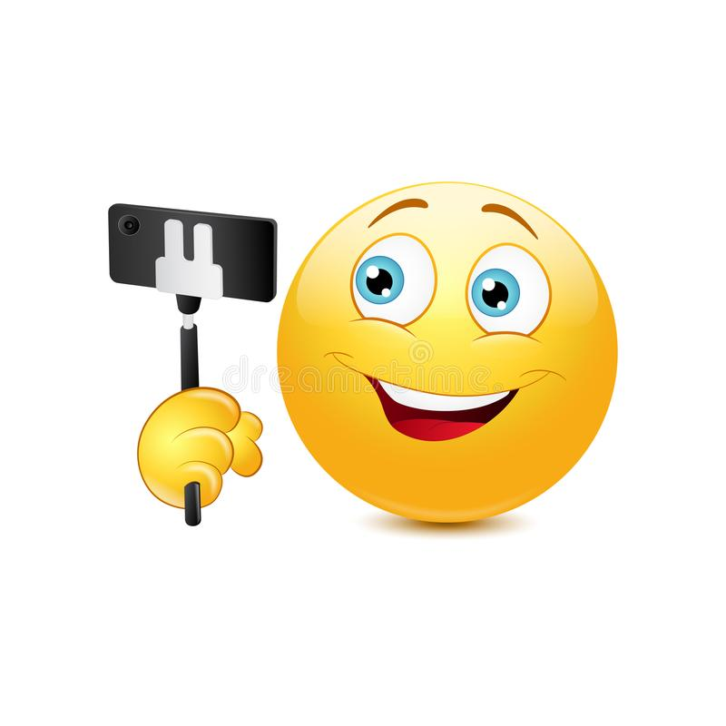 与selfie的面带笑容 向量例证