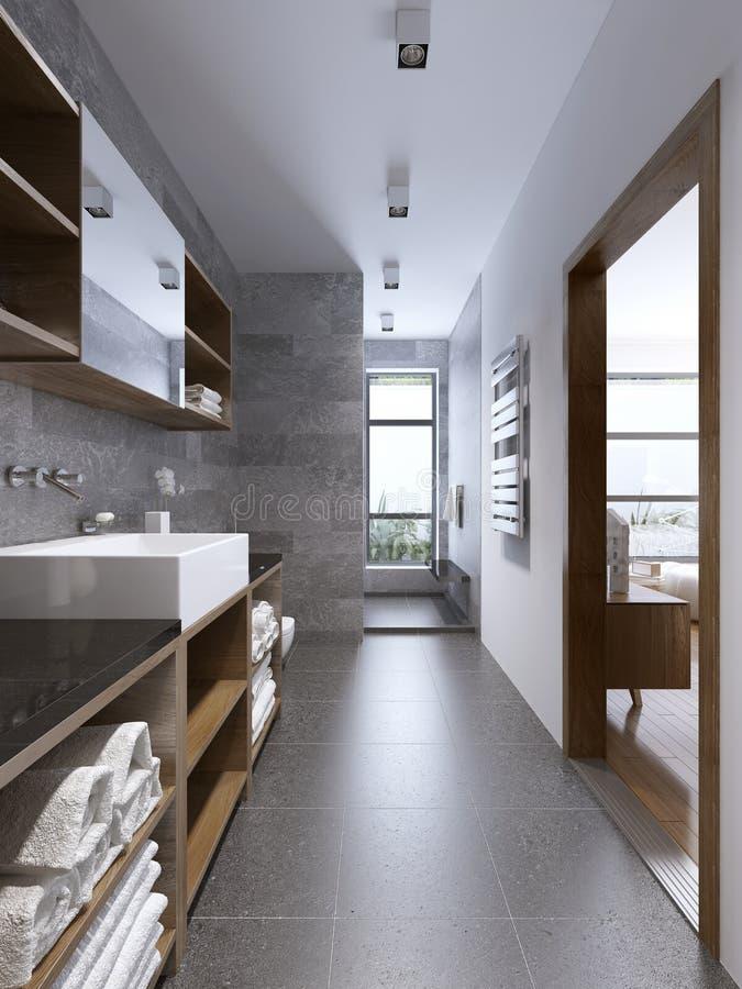 与separaded阵雨的明亮的现代卫生间内部 免版税库存图片