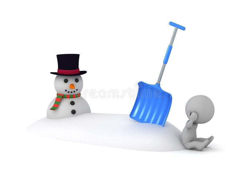 与Snowbank、铁锹和雪人的生气3D字符 向量例证